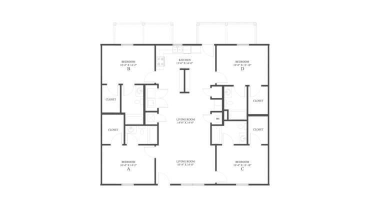 The 4 Flat Floor Plan is a 4 bedroom apartment home with a spacious 1440 square feet