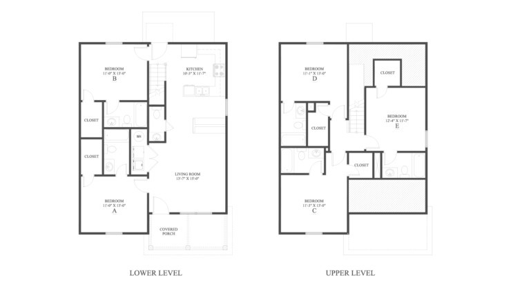 The 5 Cottage Floor Plan is a 5 bedroom home with 1855 square feet.