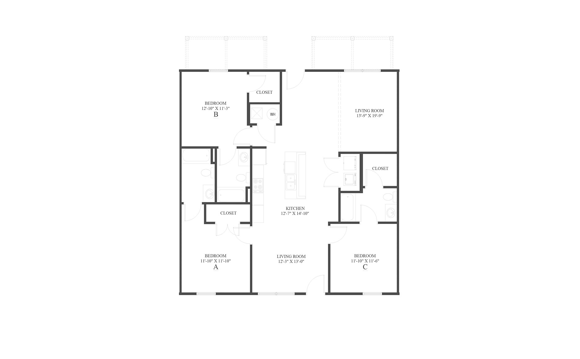 The 3 Flat Floor Plan is a 3 bedroom apartment home with a spacious 1440 square feet