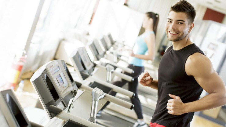The 24 Hour Fitness Center has treadmills, weights, and more.